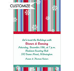 Cool Winter Stripe Custom Christmas Invitation