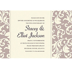 Damask Stripe Taupe Custom Invitation