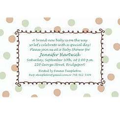 Green Dots Border Custom Baby Shower Invitation