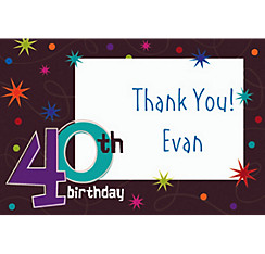 The Party Continues 40th Birthday Custom Thank You Note