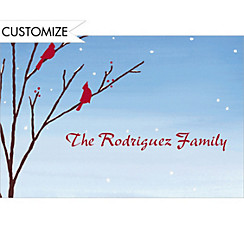 Birds in Snowy Branch Custom Christmas Thank You Note