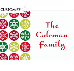 Mod Snowflakes Red Custom Christmas Thank You Note