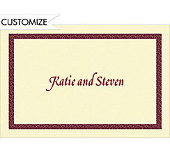 Narrow Maroon Texture/Ecru Custom Thank You Note