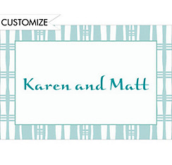 Aqua Plaid Stripe Custom Thank You Note