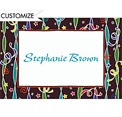 Confetti & Streamer Stripe Custom Thank You Note