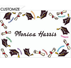 Black Tossed Grad Caps Custom Thank You Notes