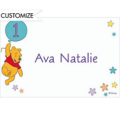 Pooh 1st Birthday Balloon Custom Thank You Note