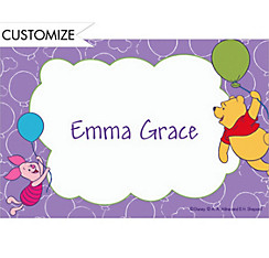 Pooh & Piglet with Balloons Custom Thank You Note