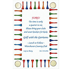 Golf Tee Border Custom Invitation