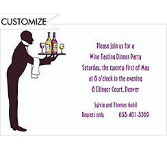 Waiter Silhouette Custom Invitation