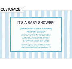 Blue Stripes Custom Baby Shower Invitation