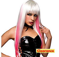 White and Pink Goth Wig