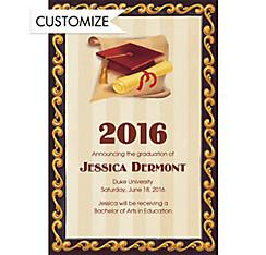 Custom Red Grad Portrait Graduation Announcements