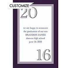 Custom Navy Austere Border Graduation Announcements
