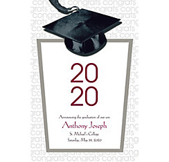 Custom White Congrats Grad Announcements