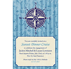Compass on Seersucker Border Custom Invitation