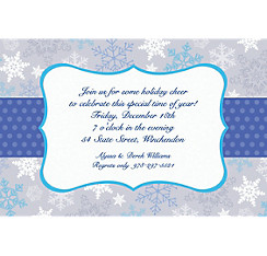 Stylish Snowflake Border Custom Christmas Invitation