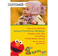 Elmo 1st Birthday Custom Photo Invitation
