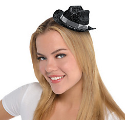 Black Glitter Mini Cowboy Hat