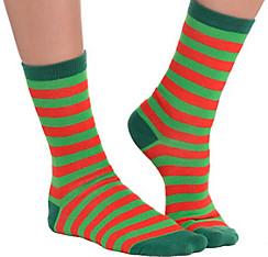 Red & Green Striped Socks