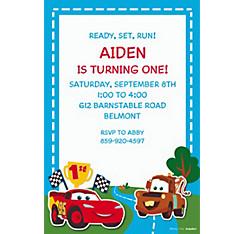 Cars 1st Birthday Custom Invitation