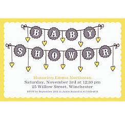 Baby Clothesline Neutral Custom Invitation