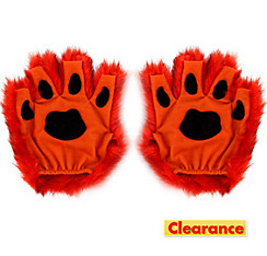 Orange Paw Fingerless Gloves
