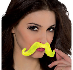 Black Light Neon Green Moustache