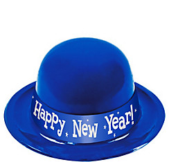 Blue Happy New Year Derby Hat