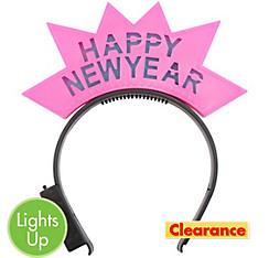 Light-Up Pink Happy New Year Headband