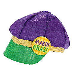 Sequined Mardi Gras Newsboy Hat