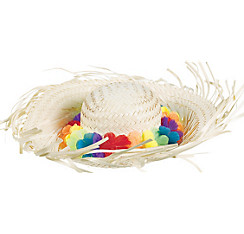 Rainbow Lei Straw Beach Hat