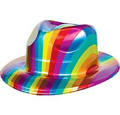 Rainbow Plastic Fedora