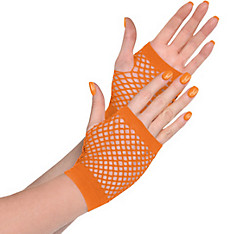 Orange Fishnet Glovelettes
