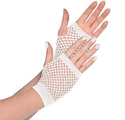 White Fishnet Glovelettes