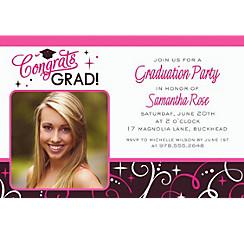 Custom Sparkling Grad Photo Invitations