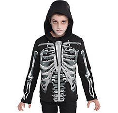 Child Skeleton Hoodie - Black & Bone
