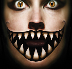 Big Mouth Cheshire Face Tattoo