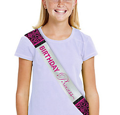 Metallic Black & Pink Birthday Sash