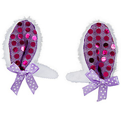 Purple Bunny Ear Hair Clips 2ct