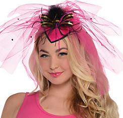 Hot Pink Veil Fascinator Headband - Sassy Bride