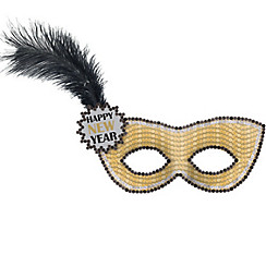 Gold Sequin Happy New Year Masquerade Mask