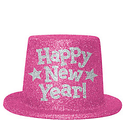 Glitter Pink Happy New Year Top Hat