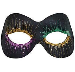 Glitter Starburst Black Mardi Gras Masquerade Mask