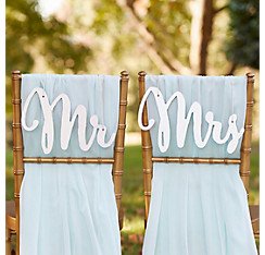 Silver Mr. & Mrs. Wedding Chair Signs