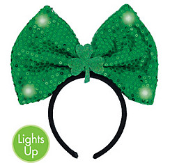 Light-Up Sequin Shamrock Bow Headband