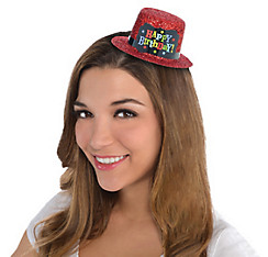 Red Glitter Happy Birthday Mini Top Hat