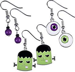 Eyeball & Monster Halloween Earrings Set 6pc