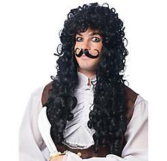 Captain Hook Wig & Moustache Set 2pc