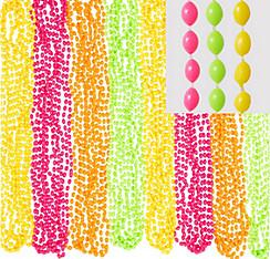 Black Light Neon Bead Necklaces 24ct